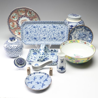 East Asian Hand-Painted Serving Pieces Including Imari and Brass Coated Bowl