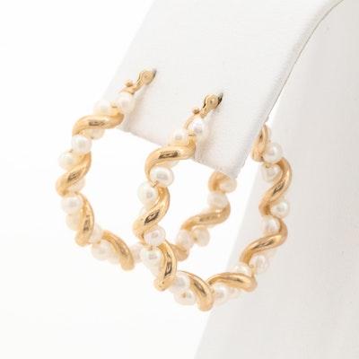 14K Yellow Gold Cultured Pearl Hoop Earrings