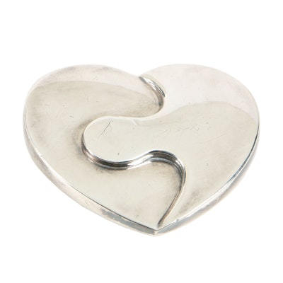"Christofle ""Duo Heart"" Silver Plate Paper Weight"