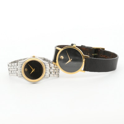 Movado Stainless Steel and Yellow Tone Quartz Wristwatches