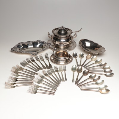 Reed & Barton and Middleton Silver Plate Serveware with Wallace Flatware