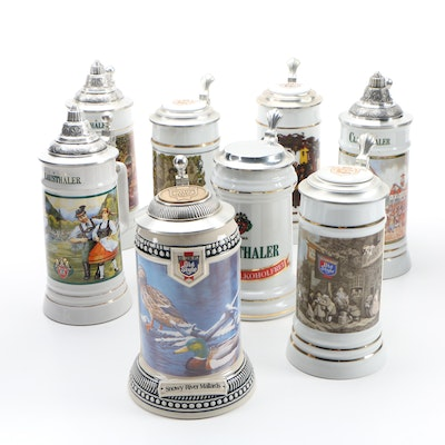 Heileman Old Style and Clausthaler Ceramic Beer Steins, 1990s