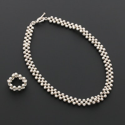 Sterling Silver Expandable Bead Toggle Necklace and Ring