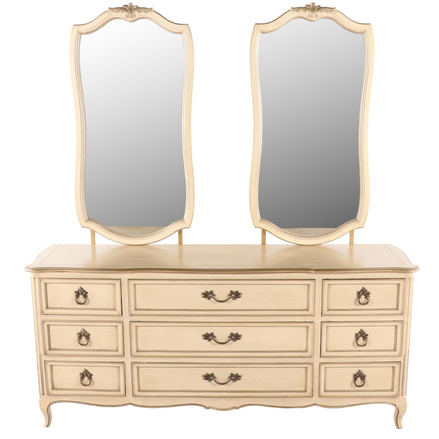 French Provincial Style Painted Dresser with Mirrors, Mid-20th Century