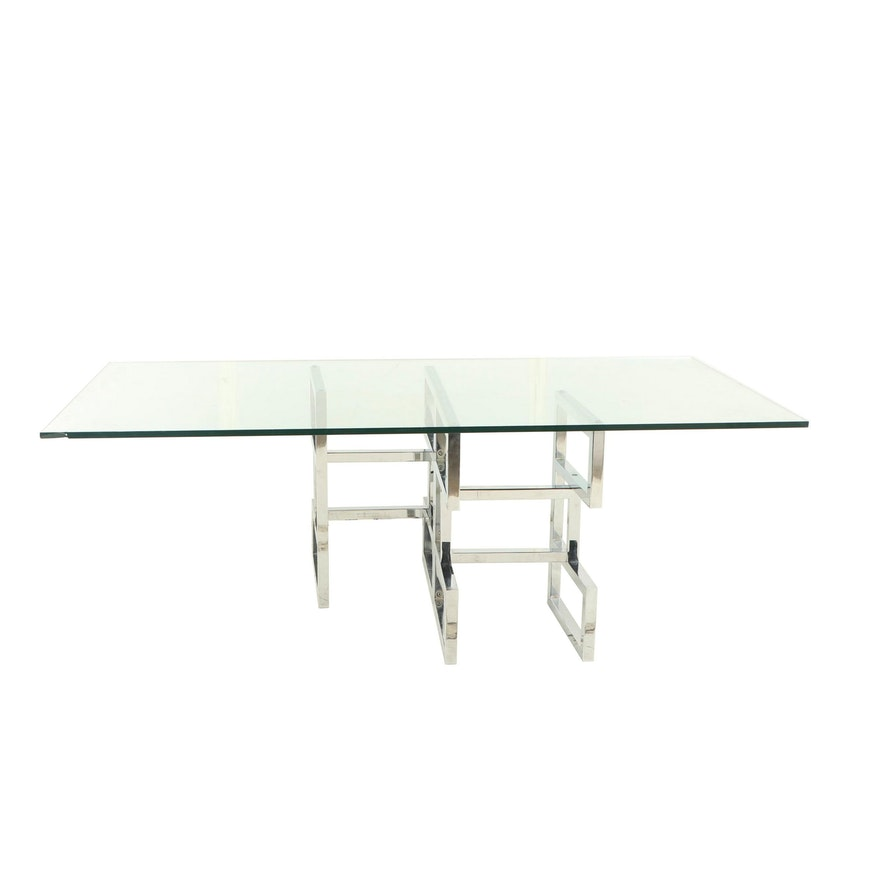 Glass and Chrome Dining Table, Mid to Late 20th Century