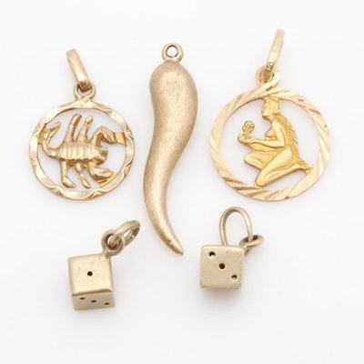 14K Yellow Gold Pendants & Charm