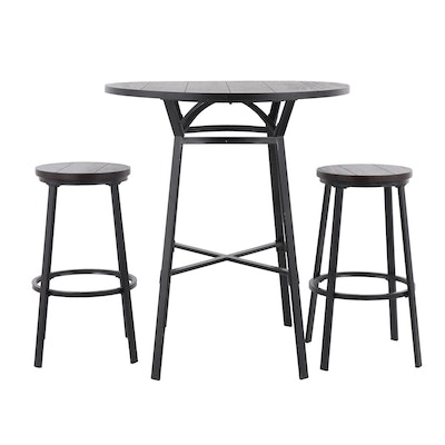 Contemporary Wood Table with Stools