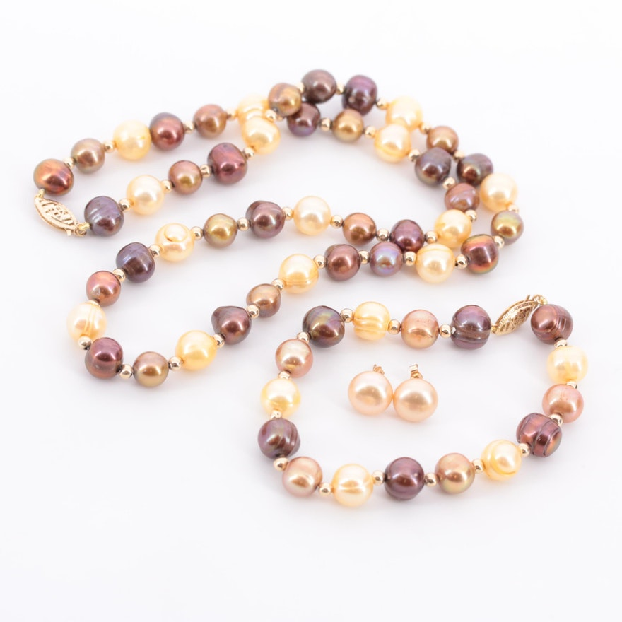 14K Yellow Gold Cultured Pearl Jewelry Set
