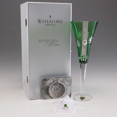 "Waterford Crystal ""Snowflake Wishes"" Emerald Champagne Flute"