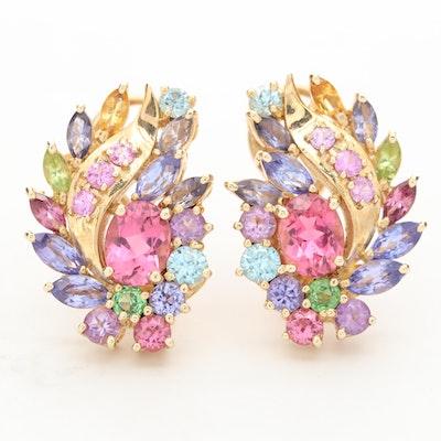 14K Yellow Gold Pink Tourmaline and Gemstone Earrings