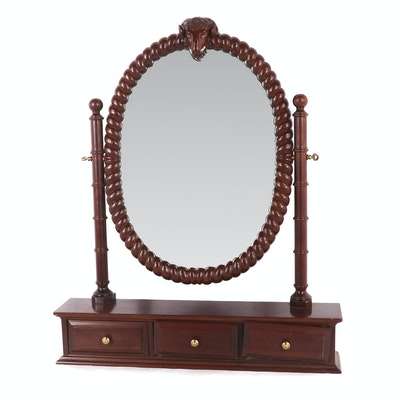 Mahogany Veneered and Stained Mirrored Shaving Stand