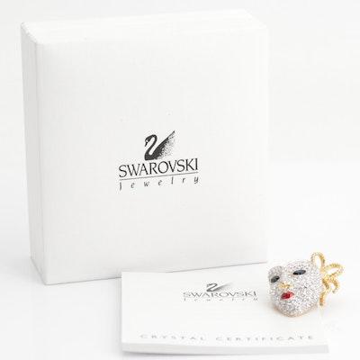 Swarovski Crystal Mask Brooch