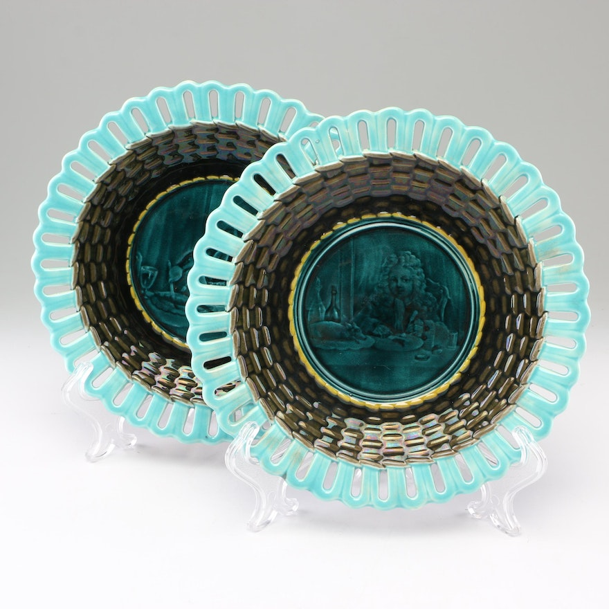 Wedgwood Majolica Reticulated Plates, 19th Century