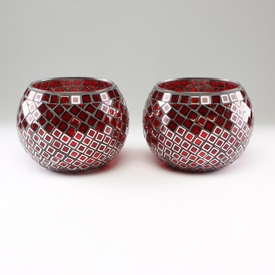 Mosaic Red Glass Candle Holders