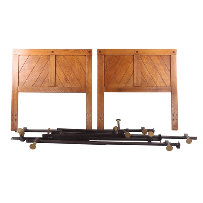 Pair of Oak Twin Bed Frames, Late 20th Century