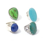 Sterling Silver Imitation Lapis Lazuli and Imitation Turquoise Rings