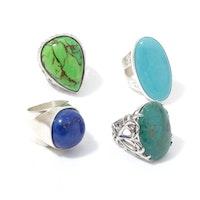 Sterling Silver Imitation Lapis Lazuli and Imitation Turquoise Rings