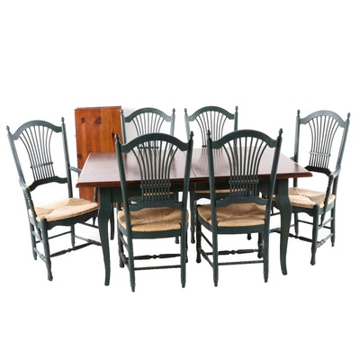 Farmhouse Style Pine and Paint Decorated Table with Six Chairs,