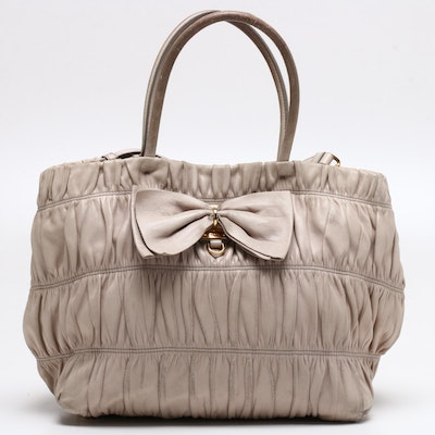 Prada Beige Nappa Gaufre Leather Tote Bag with Bow