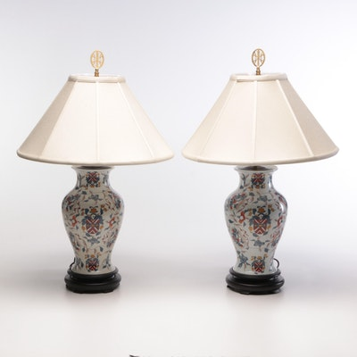 Hand-Painted Converted Chinese Porcelain Armorial Vase Form Table Lamps