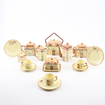 Keele Street Pottery Hand-Painted Earthenware Tea and Coffee Set, Early 20th C