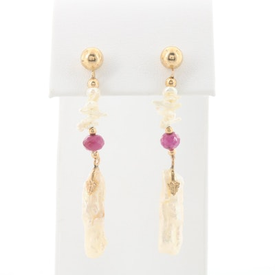 14K Yellow Gold Ruby and Cultured Pearl Earrings