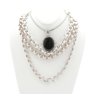 Sterling Silver Necklaces with Onyx