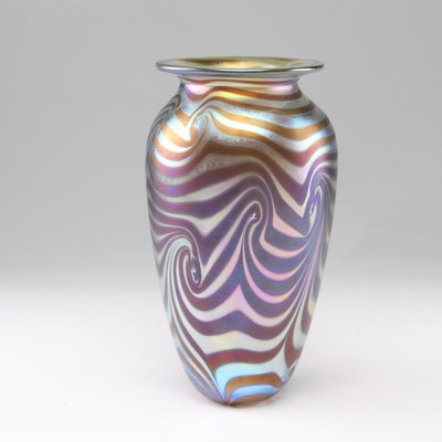 Swirled Irridescent Art Glass Vase