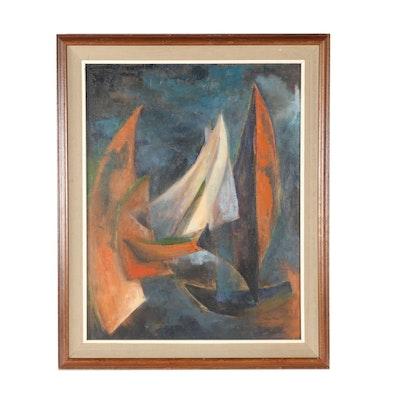 "Selma Shore Oil Painting ""Harbor Bound""oil"
