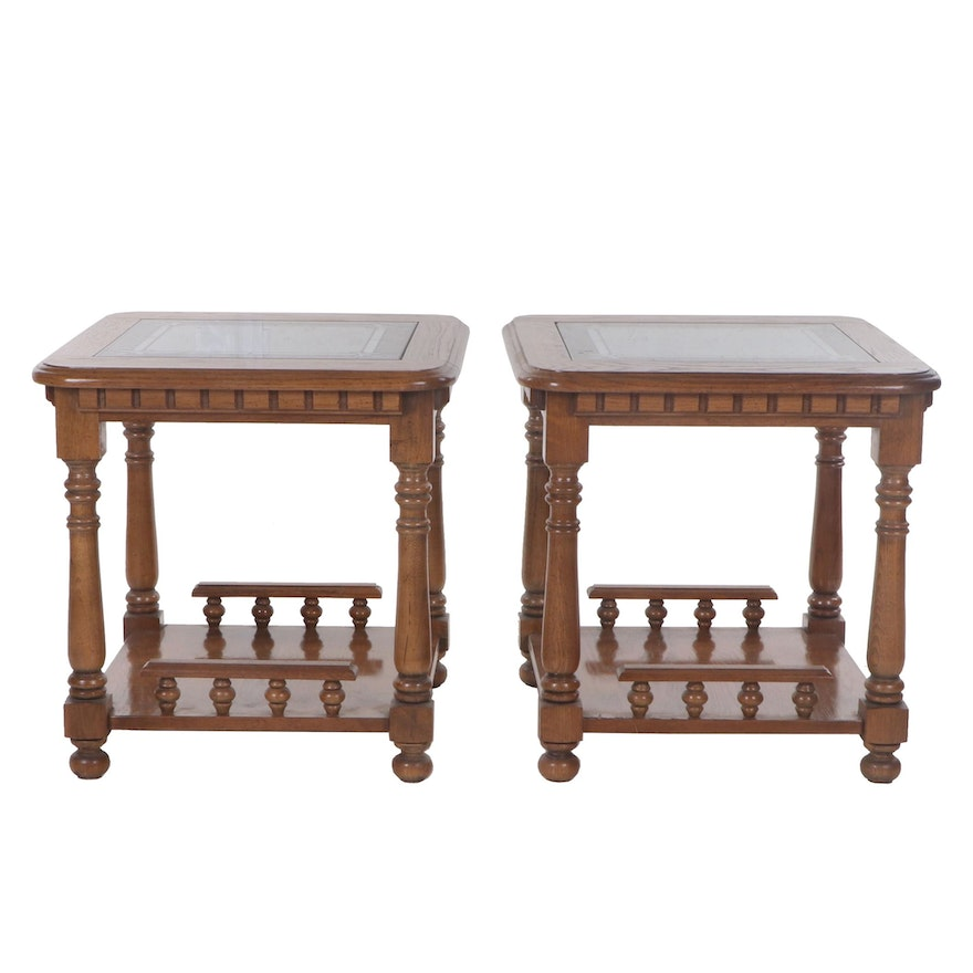 Contemporary Oak Glass Top End Tables
