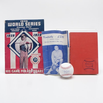 1939 World Series Program, Connie Mack Book with Kentucky Memorabilia