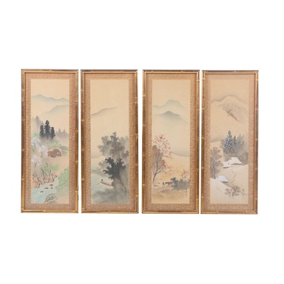 Chinese Watercolor Paintings of the Four Seasons