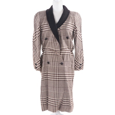Valentino Boutique Plaid Wool Double-Breasted Dress, Vintage