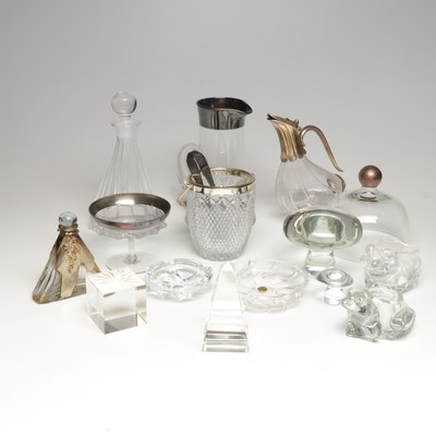 Crystal and Glass Centerpieces and Tableware, Mid to Late 20th Century