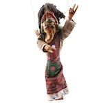 Nepalese Handmade Wooden Two Sided Marionette, Vintage