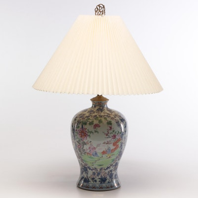 Chinese Ceramic Table Lamp, Early to Mid 20th Century