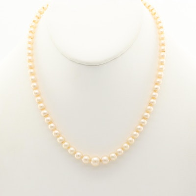 Cultured Pearl Graduated Necklace with 10K White Gold Clasp