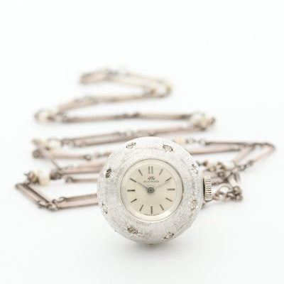 Vintage Bucherer Pendant Watch on a Sterling Silver Chain With Imitation Pearls