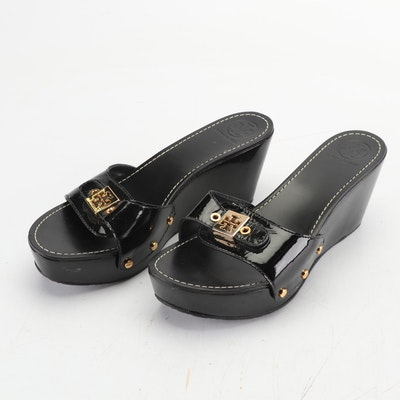 Tory Burch Black Patent Leather Wedge Slide Sandals