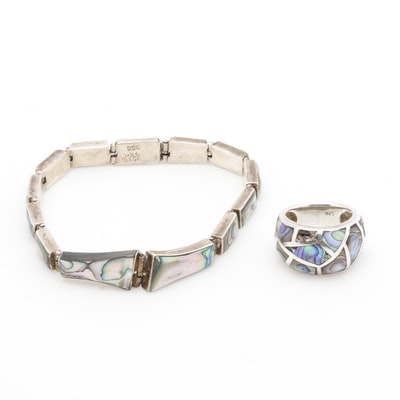 Mother of Pearl Britannia 950 Silver Bracelet and Sterling Silver Ring
