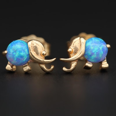 14K Yellow Gold Opal Elephant Earrings