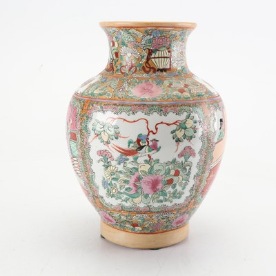 Chinese Rose Medallion Porcelain Vase, Mid-Century