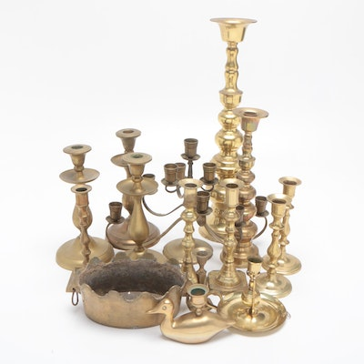Brass Candlesticks and Chambersticks with Brass Candelabrum and Bowl