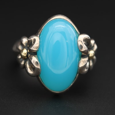 Sterling Silver Chalcedony Floral Ring With 18K Yellow Gold Accents