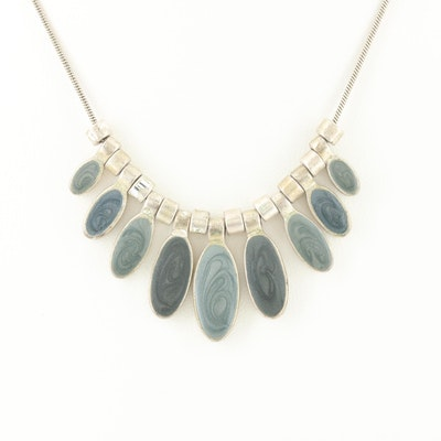 Silver Tone Resin Adjustable Length Necklace