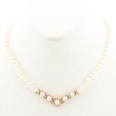 Sterling Silver Cultured Pearl and White Sapphire Necklace
