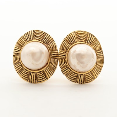 Chanel Gold Tone Imitation Mabé Pearl Clip-On Earrings