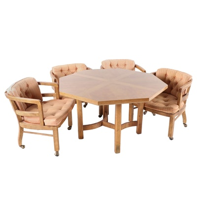 Oak Octagonal Game Table and Upholstered Arm Chairs