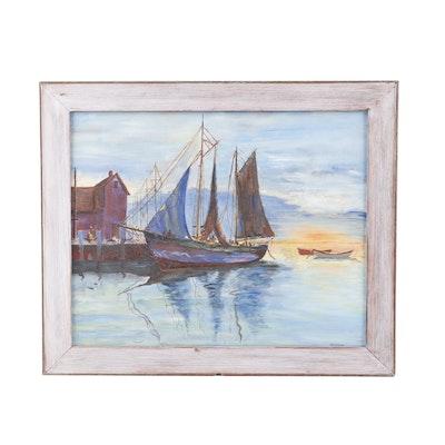V.L. Colburn Oil Painting of a Harbor Scene
