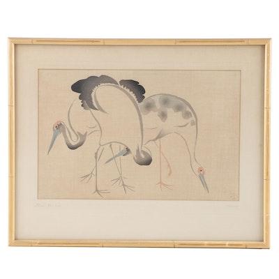 """Karin Watercolor Painting """"Three Cranes"""""""